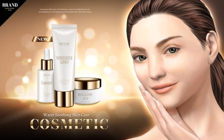 化粧品のスキンケア広告、3Dイラストで輝く背景に隔離された美しいモデルで水分をなだめる製品
