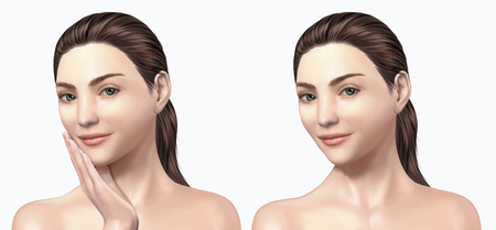 Attractive model set, beautiful woman for cosmetic and medical use in 3d illustration