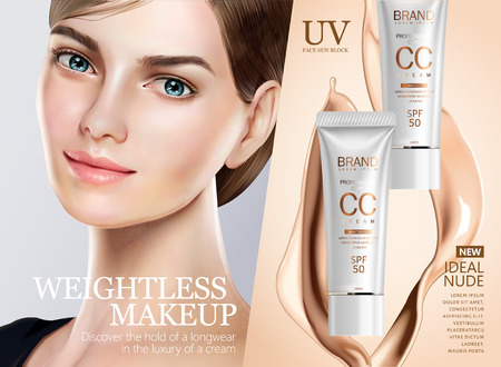 Foundation makeup ads, pretty model in short hair with cc cream and splashing liquid in 3d illustration