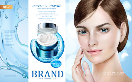 Skin care ads, pretty model in short hair with moisture cream jar and splashing water in 3d illustration, design for ad or magazine Vettoriali
