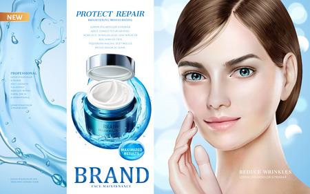 Skin care ads, pretty model in short hair with moisture cream jar and splashing water in 3d illustration, design for ad or magazine Ilustração