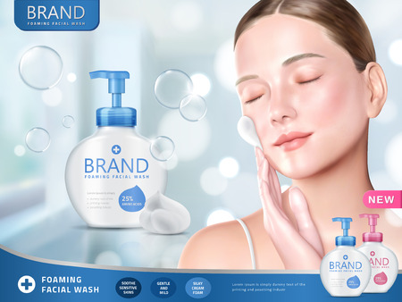Facial wash ads, foaming face wash with attractive woman smearing foams on face, bokeh and glitter blue background in 3d illustration Vettoriali