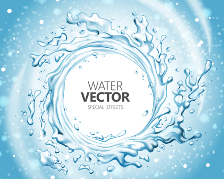 Water special effect, vortex shape splashing water in 3d illustration on glitter blue background