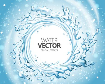 Water special effect, vortex shape splashing water in 3d illustration on glitter blue background