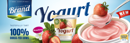 Strawberry yogurt ads, delicious yogurt commercial with a spoon of strawberry cream isolated on green field in 3d illustration Vectores