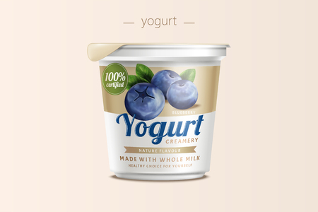Blueberry yogurt package design, food container in 3d illustration Archivio Fotografico - 96697264