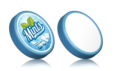 Mints gum package design, containers template with labels in 3d illustration