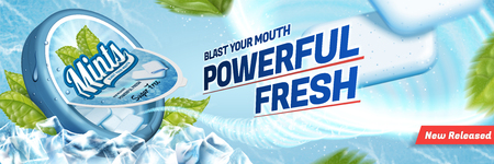 Mints gum ads, freshen breath product with ice cubes and mint leaves isolated on blue background