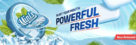 Annonces de menthe gomme, rafraîchir l'haleine avec des glaçons et des feuilles de menthe isolés sur fond bleu Banque d'images - 96697271