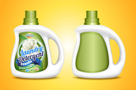 Laundry detergent mockup, two bottle template with label in 3d illustration on yellow background