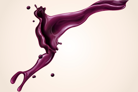 Splashing juice element, blueberry or beetroot juice in 3d illustration for design uses Vettoriali