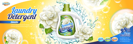 Annonces de détergent à lessive, liquide détergent au camélia avec des éléments floraux et des éclaboussures d'eau en illustration 3d, fond jaune