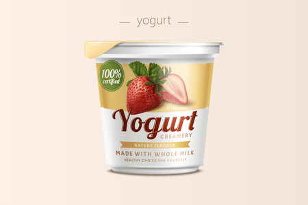 Strawberry yogurt package design, food container in 3d illustration