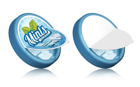 Mints gum package design, open containers with gums in 3d illustration
