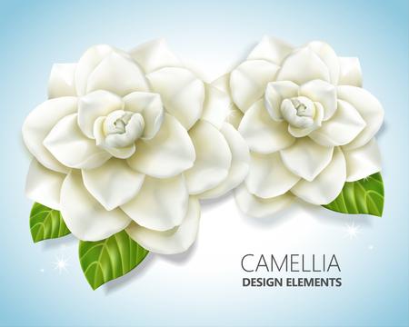 Witte camelia-elementen, elegante bloemen in 3d illustratie voor ontwerp en decoratiegebruik