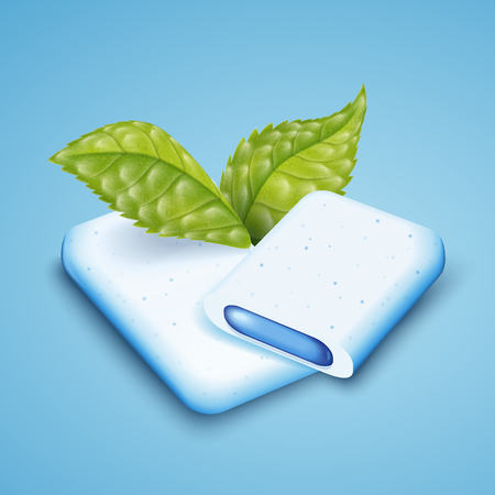 Close up look at mints gum, freshen breath product with mint leaves isolated on blue background, gum with cool fillings