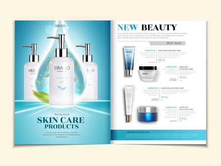 Skin care catalogue, cosmetic magazine template with produts in 3d illustration
