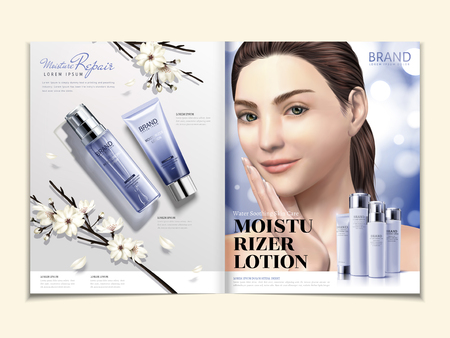 Cosmetic magazine template, moisturizer product set with elegant model in 3d illustration, white blooms and glitter background
