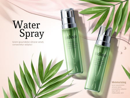 Water spray ads, green spray bottles with palm leaves elements in 3d illustration