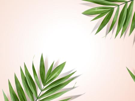 Palm leaves background, decorative summer plant design elements in 3d illustration Vettoriali