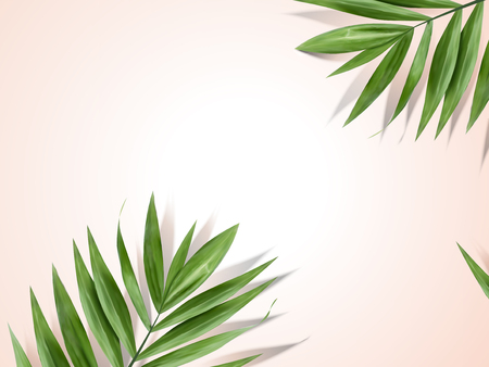 Palm leaves background, decorative summer plant design elements in 3d illustration Ilustrace