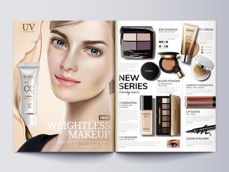 化粧品雑誌テンプレート、3Dイラストで美しいモデルとファッションカタログ