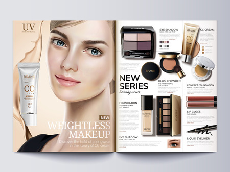 Cosmetic magazine template, fashion catalogue with beautiful model in 3d illustration