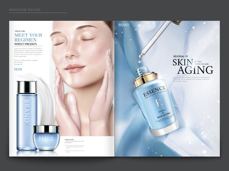 Cosmetic magazine template, elegant model with droplet bottle isolated on light blue chiffon background, in 3d illustration Vettoriali