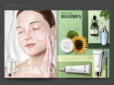 Cosmetic magazine template, elegant model with cream on her face, skincare products on green geometric background, in 3d illustration 일러스트