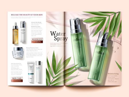 Cosmetic magazine template, skin care products with palm leaves element in 3d illustration