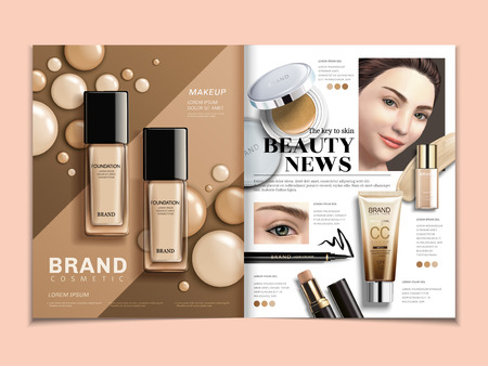 Fashion magazine template, foundation and concealer ads with elegant model in 3d illustration Vettoriali
