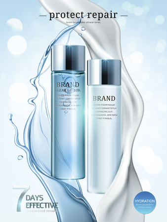 Skin care ads, lotion and cream products in light blue package with splashing liquid and cream in 3d illustration, bokeh glitter background