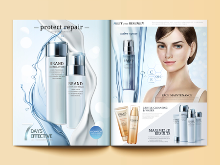 Cosmetic magazine template, moisturizing products with flowing water and cream texture in 3d illustration 일러스트