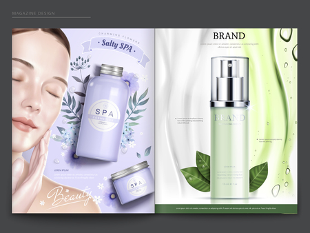 Cosmetic magazine template, elegant model with spa and skincare products, in 3d illustration