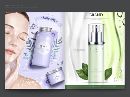 Modello di rivista cosmetica, modello elegante con spa e prodotti per la cura della pelle, nell'illustrazione 3d Archivio Fotografico - 97105078