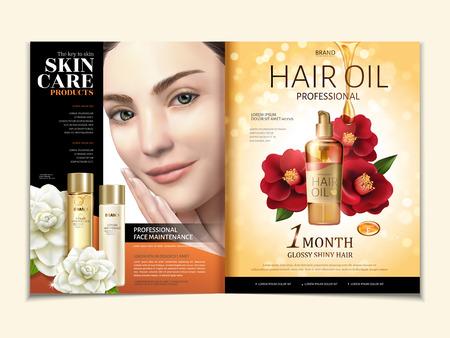 Cosmetische tijdschriftsjabloon, haarolie met elegant model in 3d illustratie, rode en witte camelia die op gouden schittert achtergrond wordt geïsoleerd