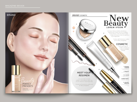 Cosmetic magazine template, elegant model with foundation products, in 3d illustration
