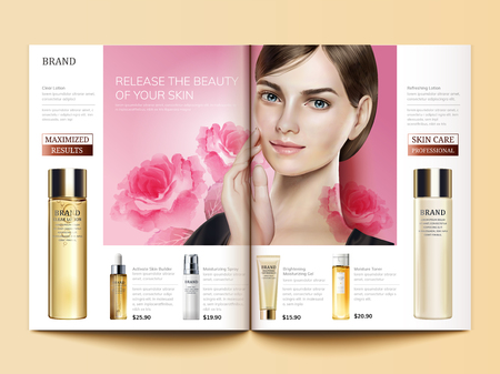 Cosmetic magazine template, skin care products with beautiful model in 3d illustration, peony or rose watercolor elements Illustration