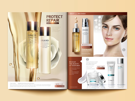 Cosmetic magazine template, skincare oil pouring down from sky with white rose and beautiful model, 3d illustration Vettoriali