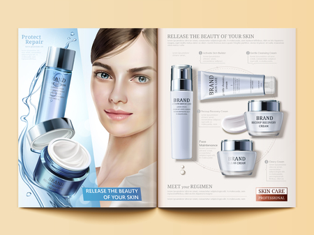 Cosmetic magazine template, moisturizing products with flowing water texture and beautiful model in 3d illustration