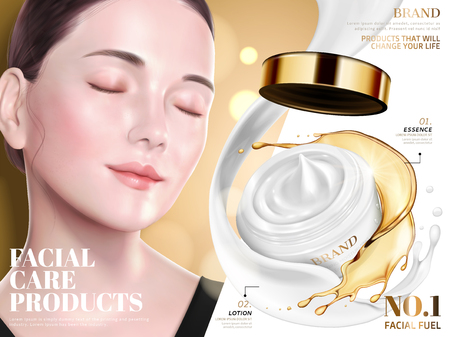 Facial care product ads, elegant model with lotion and essence combination product in 3d illustration, golden glitter background 일러스트