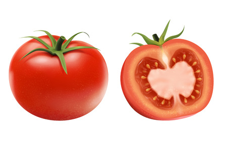 Fresh tomatoes elements, whole and a half isolated on white background