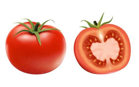 Elementos de tomates frescos, entero y medio aislado sobre fondo blanco.