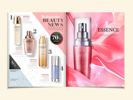 Cosmetic magazine ads, skincare products on satin background in 3d illustration Foto de archivo - 98211977