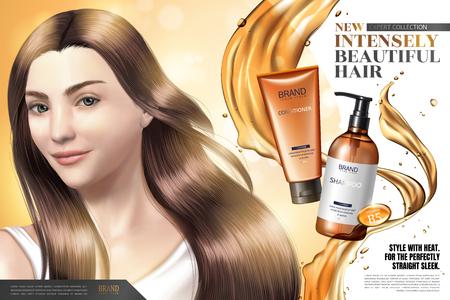 Annonces de produits de soins capillaires, modèle de cheveux élégant avec éclaboussures d'huile et produits en illustration 3d Vecteurs
