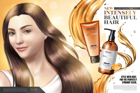 Hair care product ads, elegant hair model with splashing oil and products in 3d illustration Vectores