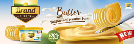 Creamy butter ads, butter curls on knife with package design in 3d illustration, nature bokeh background Vettoriali
