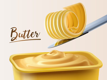 Creamy butter container, curl butter on knife in 3d illustration
