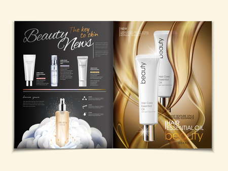 Cosmetic magazine ads, hair oil and skincare products with oily texture in 3d illustration