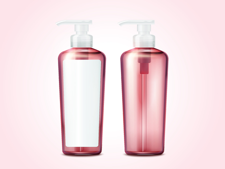 Blank pump bottle, pink cosmetic containers set with label in 3d illustration on pink background